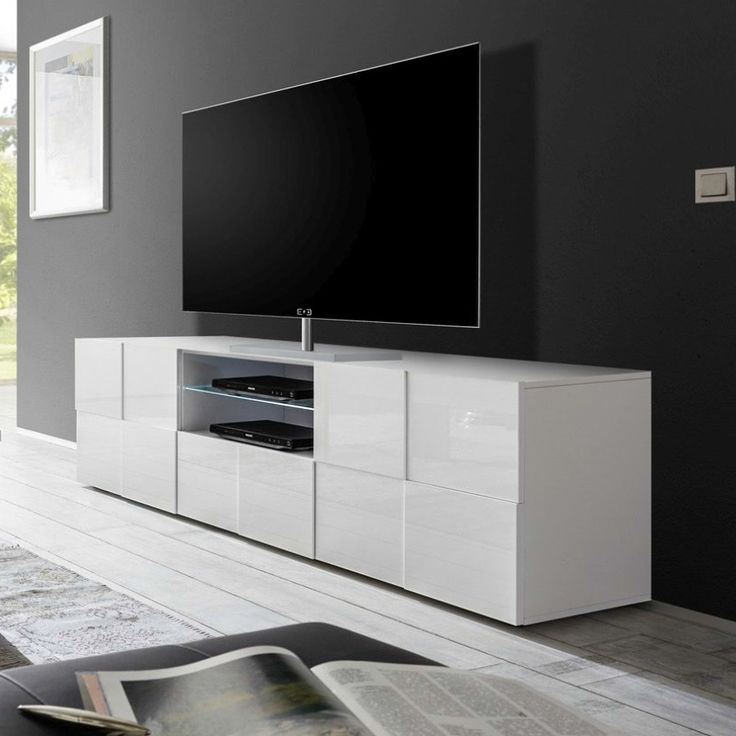 Les 25 meilleures id es de la cat gorie meuble tv blanc for Grand meuble tv blanc laque