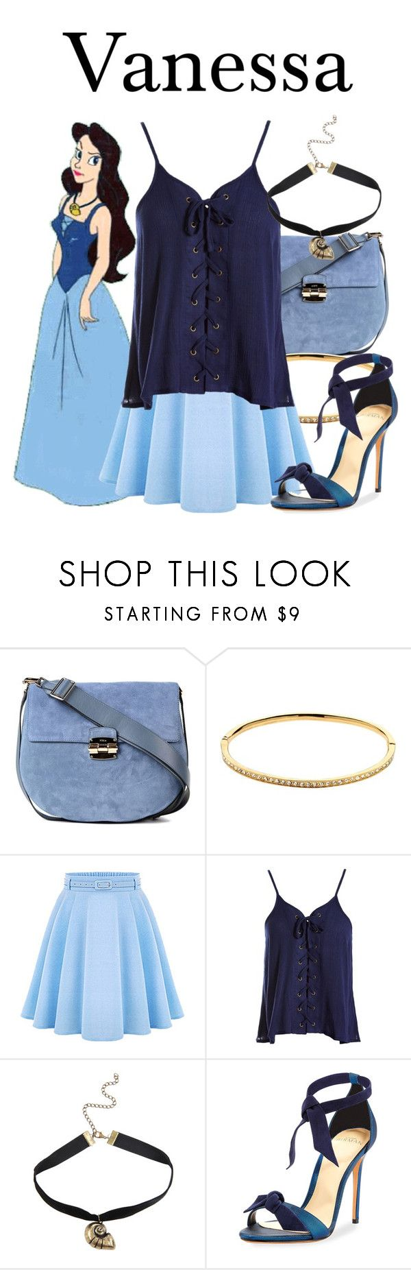"""Vanessa"" by megan-vanwinkle ❤ liked on Polyvore featuring Furla, Melissa Odabash, WithChic, Sans Souci, Disney, Alexandre Birman, disney and polyvoreeditorial"