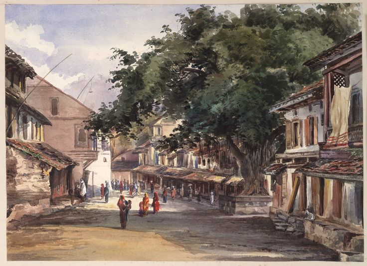 Water-colour painting of a street scene in Pune (Poona) by John Frederick Lester (1825-1915)   'A Street in the City of Poonah [Pune]. 29th August 1871. George Hogg with me'.