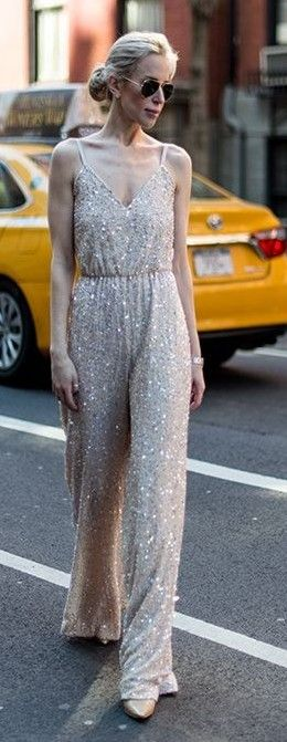 #spring #fashion #outfitideas | Nude Sequin Jumpsuit | Yael Steren                                                                             Source