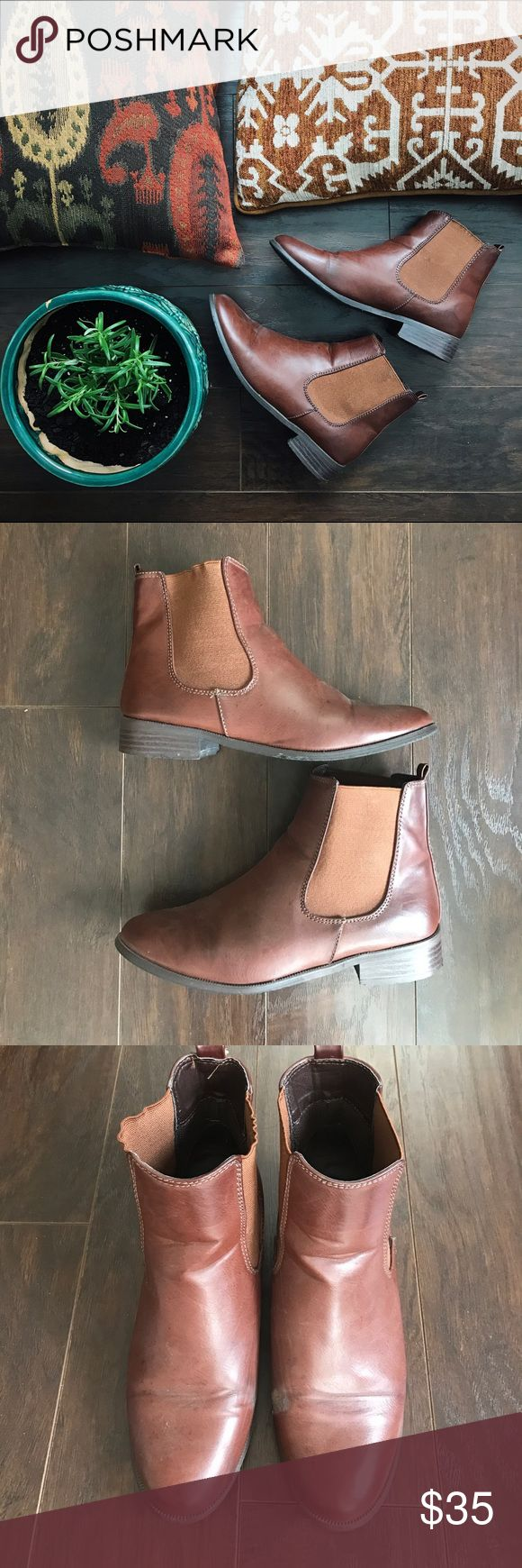 URBAN OUTFITTERS Brown Chelsea Boots Beautiful, deep brown, faux-leather chelsea boots by BDG (Urban Outfitters). Moderately worn, a few scuffs that are not noticeable when worn. Good used condition. These are a closet staple! Urban Outfitters Shoes Ankle Boots & Booties