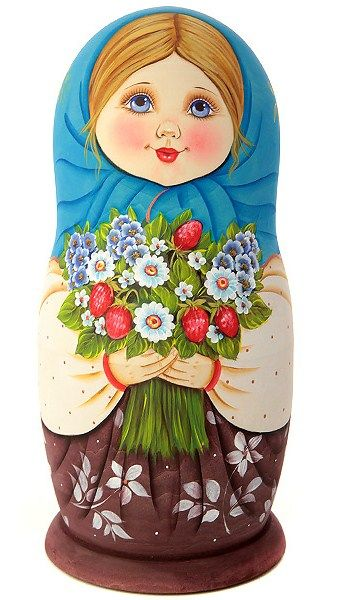 Matryoshka (Russian nesting doll) in a blue shawl. #folk #art #matryoshka