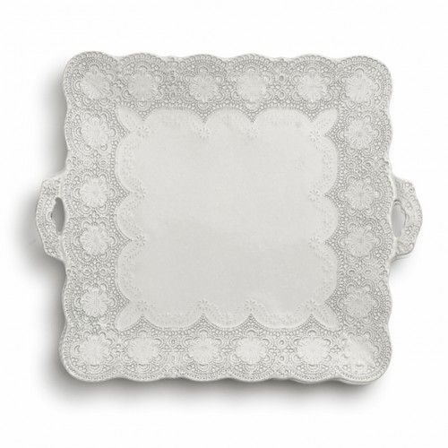 Check out our latest Enter To Win.   You can win this beautiful tray OR a $100 online shopping credit!  Merletto Antique Square Platter with Handles