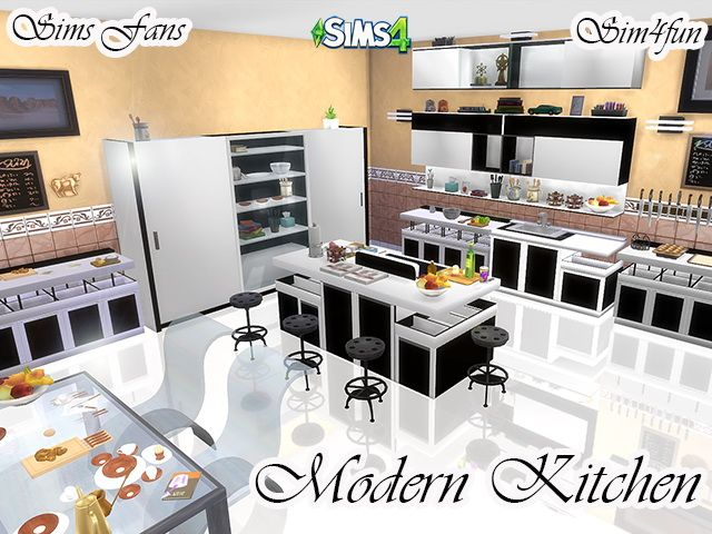 Modern kitchen by sim4fun at sims fans via sims 4 updates for Kitchen ideas sims 4