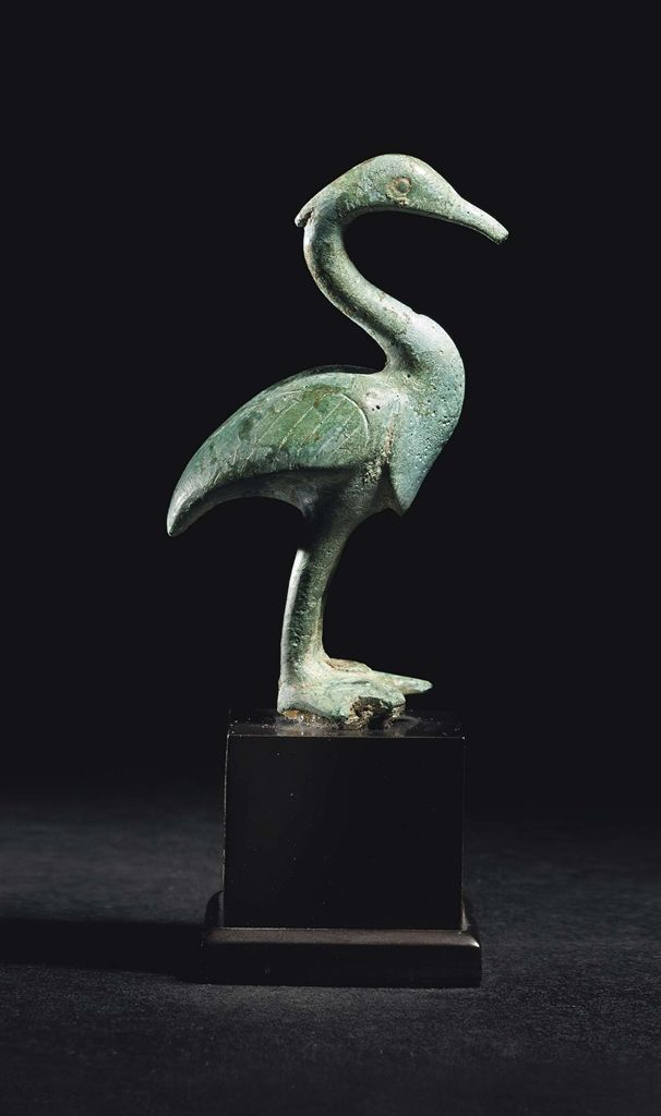 A GREEK BRONZE CRANE - CLASSICAL PERIOD, CIRCA 5TH CENTURY B.C.