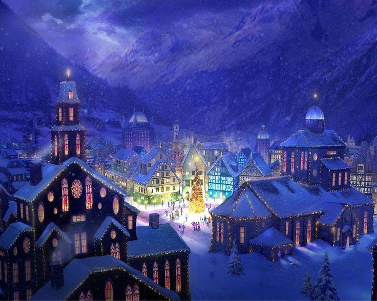 новый год, вечер, горы, праздник, город, елка, фотошоп
