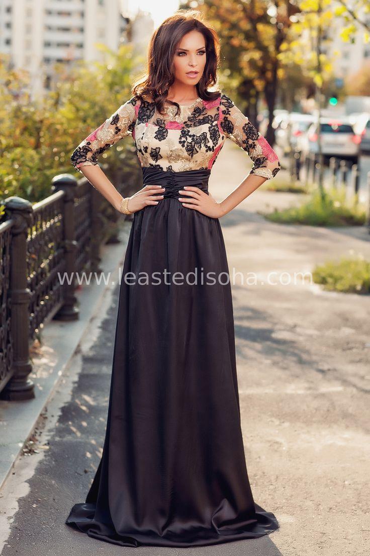 """L'abito lungo elegante """"Margaret"""" presenta una lunga gonna caratterizzata da un tessuto morbido e lucente, fascia in vita con pieghe elasticizzate e corpetto con maniche a tre quarti, pizzo e fantasie floreali dal nero al fucsia. ➽➽ Contattaci su Pinterest o manda """"pin"""" via sms/WhatsApp al 373 7616355 per ricevere un #BUONO #SCONTO esclusivo!  #leastedisoha #moda #abbigliamento #donna #elegante"""