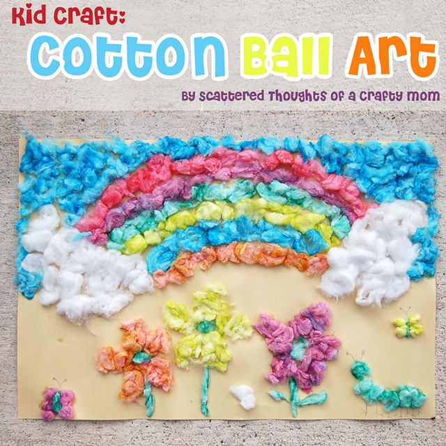 Kid Craft Cotton Ball Art Coloring Mom And Fun Crafts