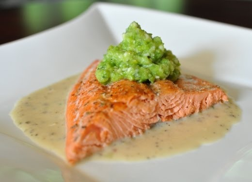 Roasted Salmon with Pea Puree in a Light Lemon Sauce by lipstickblogger #Salmon #Peas