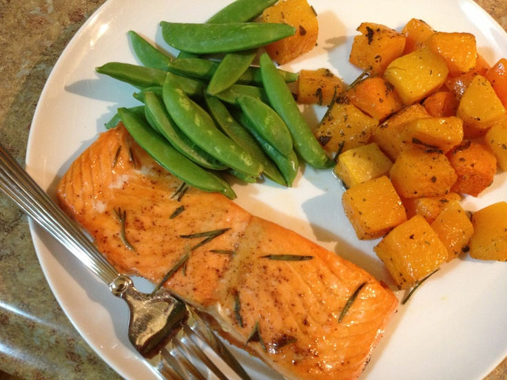 Steelhead Trout and Butternut Squash.  Simple and healthy meal.