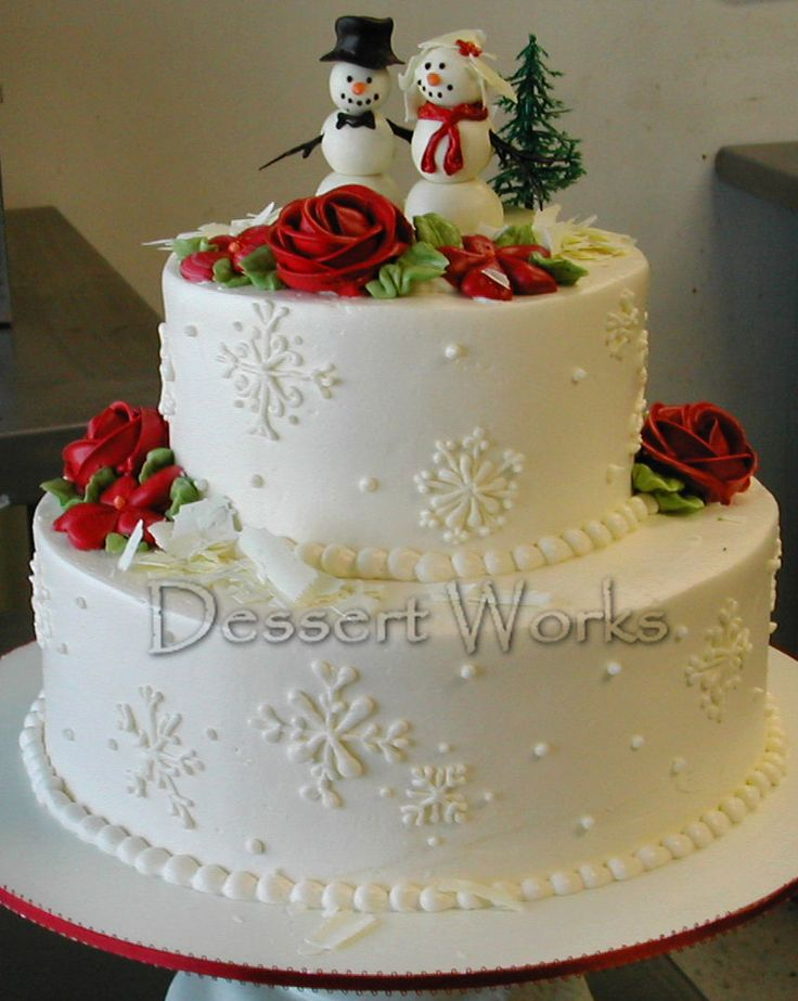 Christmas Wedding Cake With Little Snowman Bride And Groom