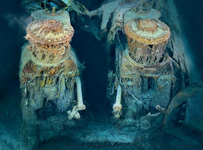 Engines from the sunken Titanic. Each is about 4 stories tall....