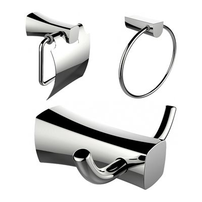 American Imaginations AI-13417 Towel Ring, Toilet Paper Holder, and Robe Hook Accessory Set
