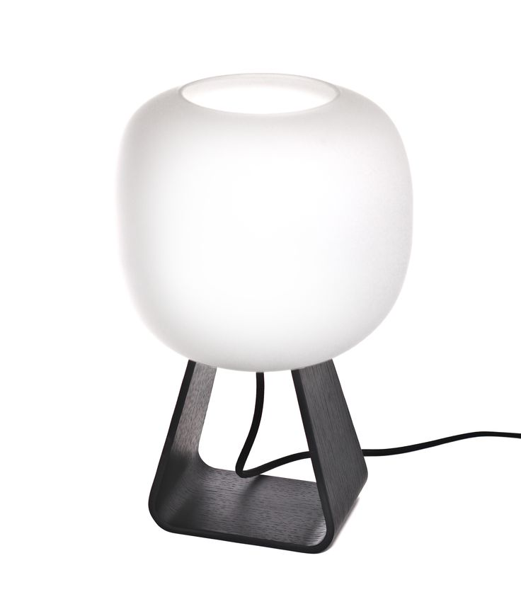 Toad Table Lamp, Black Stained Oak Handblown glass diffuser. Base made of bended oak plywood.