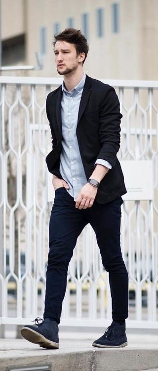 0c746b1fc4b  marcelfloruss - with a business casual combo with a black blazer light  blue button shirt black chinos black banded iWatch blue suede chukka boots  ...