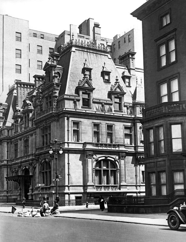 """A close-up view, of the Gilded Age NYC mansion of society member, """"The"""" Mrs. Caroline Astor ~ Location: 5th Avenue at 65th Street, built in c.1893. This photo taken in c.1929. ~ {cwlyons} ~ (Image: Gotham Magazine - Via: Getty Images)"""