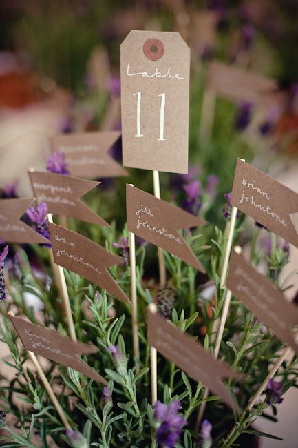 table plan flags in a pot of lavender