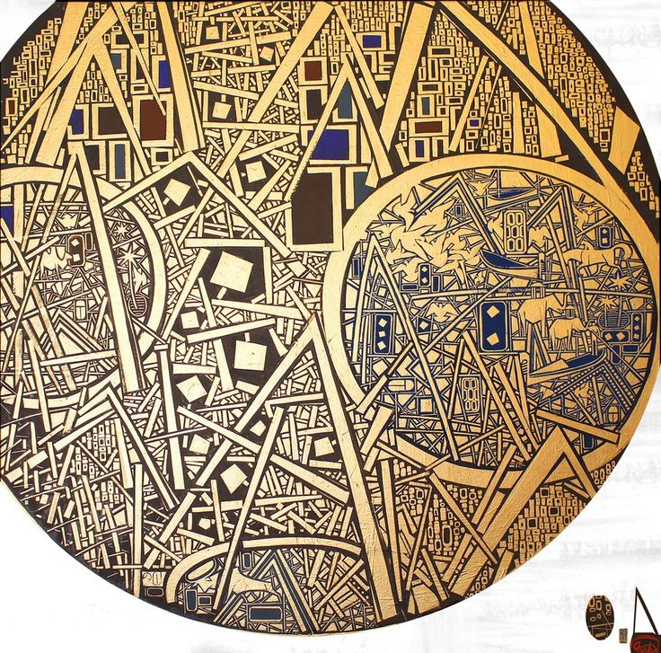 """""""BRIGHT SIDE OF THE MOON"""" by SAVVA    canvas / antique bronze / acrylic    101 х 101    2011 ~ NOW AVAILABLE FOR $11 500 ~"""