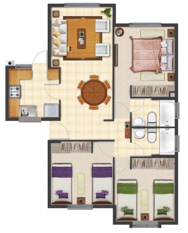 17 mejores ideas sobre planos de planta de casa en for Plantas de casas de un piso