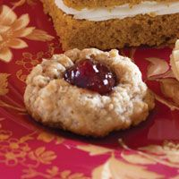 The jam filling in these chewy Oatmeal-Cranberry Thumbprint Cookies is made from lingonberries, a relative of cranberries that is not quite as tart.