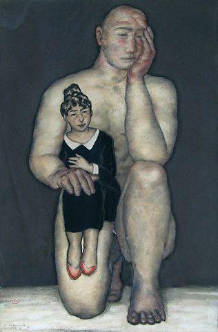Svein Bolling <em>Naken mann og påkledd kvinne</em><br />pastell, 121x80 cm