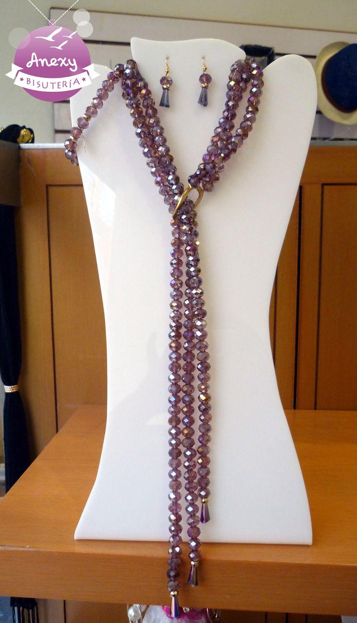 Juego ::#Pulsera #Aretes  #Collar corbata de Cristales morados - Bisutería y Accesorios Anexy
