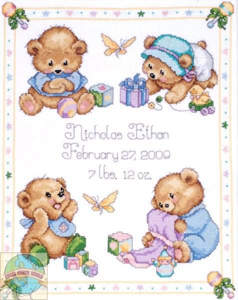 Free Baby Cross Stitch Patterns | ... counted cross stitch title baby bear sampler by tobin baby of design