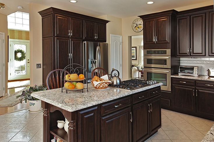 197 best kitchen islands images on pinterest kitchen for Chocolate pear kitchen cabinets