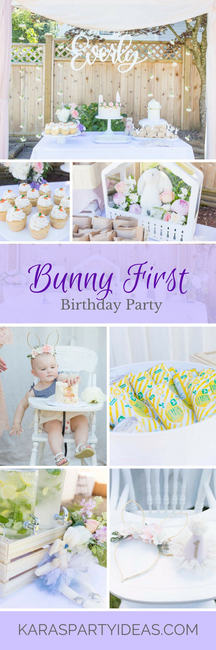 Bunny 1st First Birthday Party via Kara's Party Ideas | KarasPartyIdeas.com