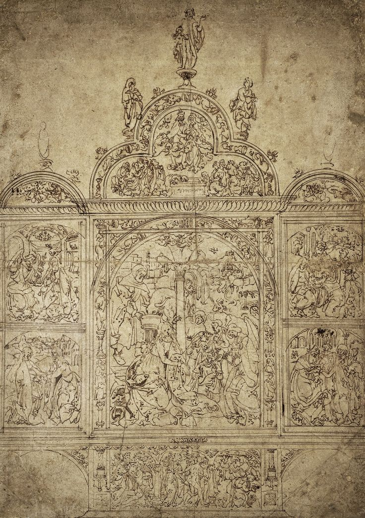 Altar design for Carmelite Church in Nuremberg (today in Bamberg Cathedral) with Nativity by Veit Stoss, 1520 (PD-art/old), Muzeum Uniwersytetu Jagiellońskiego (MUJ)