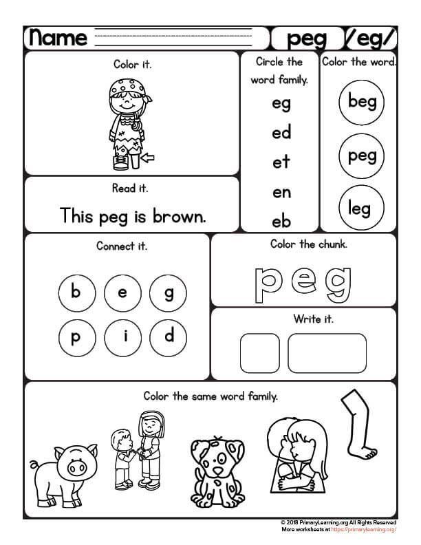 Peg Worksheet Eg Word Family Primarylearning Org Word Family Worksheets Word Families Family Worksheet