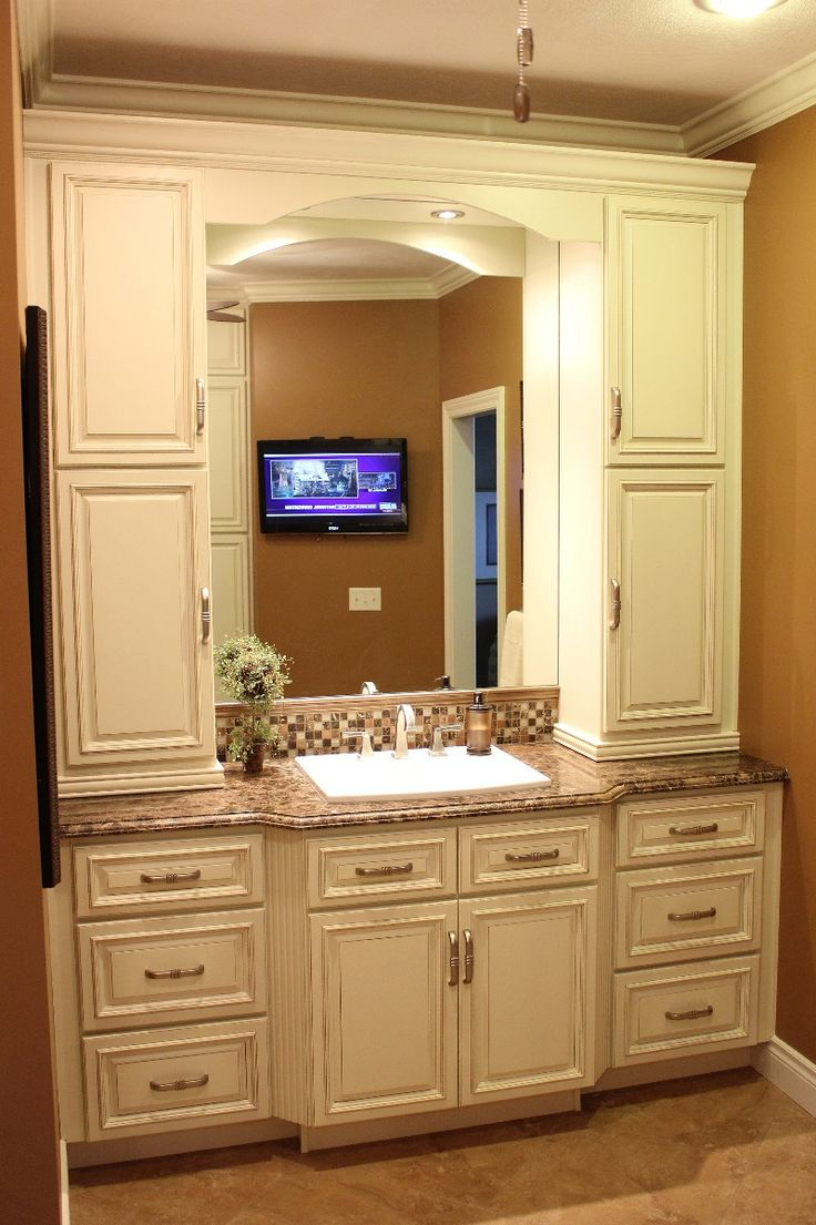 Bathroom cabinet storage solutions - Bathroom Vanities And Cabinets Lenox Country Linen Cabinet Pictures