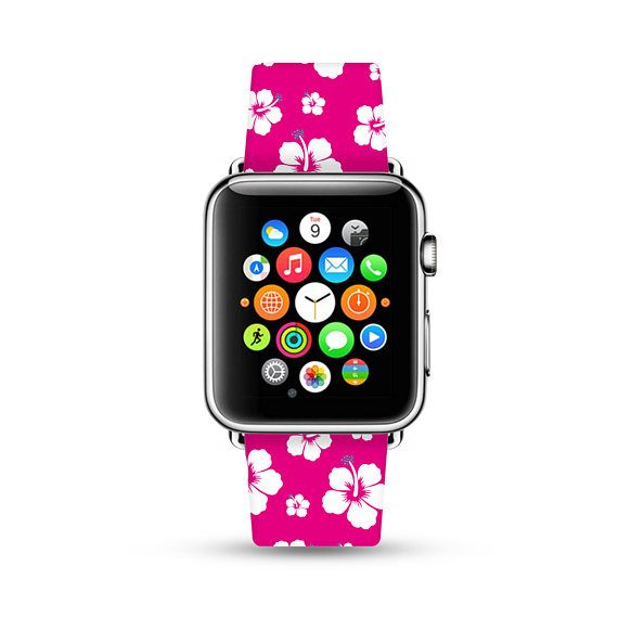 Apple Watch Band 38mm women, Apple Watch band 42mm for 1 & 2, Apple Watch Strap genuine Calf Leather Wrist Band pink hawaii flowers floral
