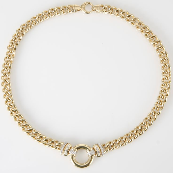 A 9CT GOLD AND DIAMOND NECKLACE, JENNA CLIFFORD  the curb-link chain, centred with a circular ring highlighted on either side by a stylised design, with channel and pavé-set round brilliant-cut diamonds weighing approximately 0,56cts (G/H VS) in total, length approximately 460mm   Gold weight: 124.57g