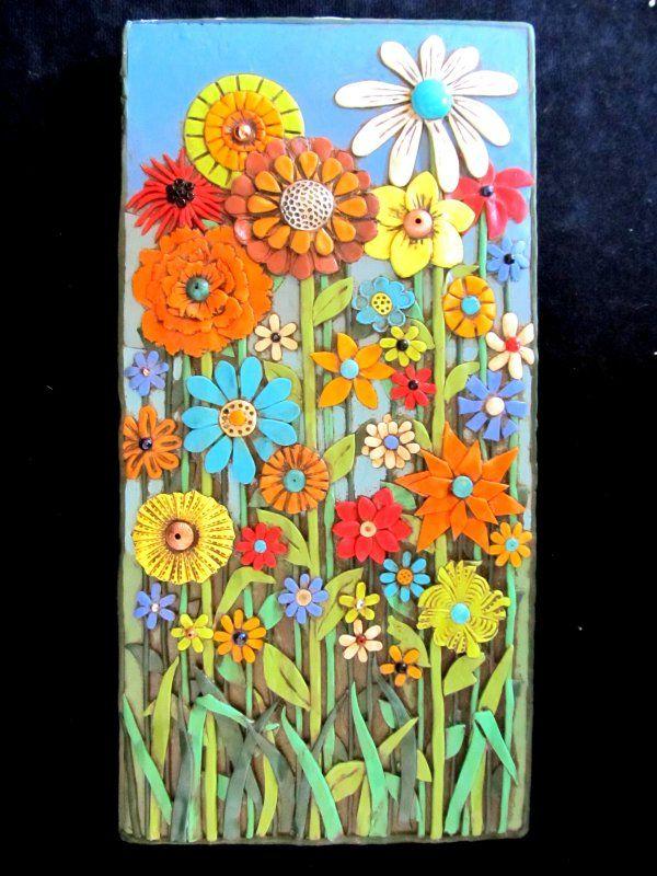 Flower garden wall art by Karen Brueggemann Polymer clay