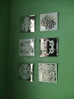 Frosted Glass Mirrors - cut patterns from contact paper and apply them