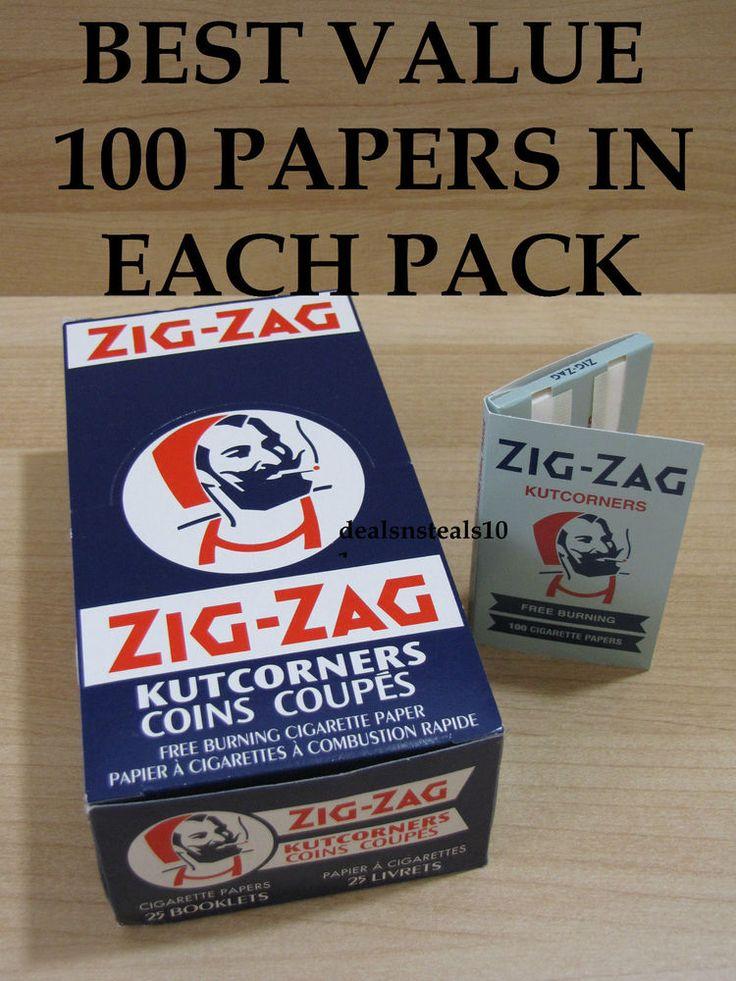25 BOX ZIG ZAG BLUE KUTCORNERS FREE BURNING ROLLING PAPERS 100 LEAVES PER PACK