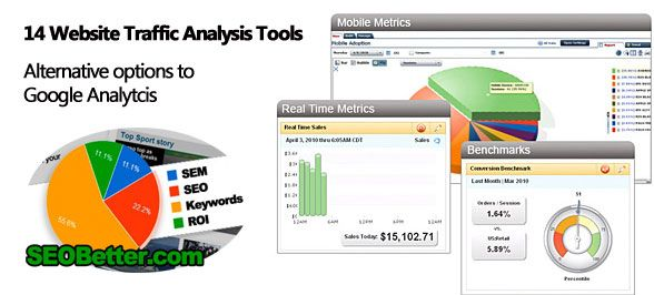 14 Website Traffic Analysis tools - Online software alternatives to Google Analytics - http://seobetter.com/2010/02/website-traffic-analysis-tools-online/ -   14-Website-Traffic-Analysis-tools   14 Website Traffic Analysis tools If you have tried all of the SEO techniques that please the human visitors and search engine spiders to improve the traffic, here's yet another important technique with which you can perfect you ways to generate even more t... - analytics, blvd, bus