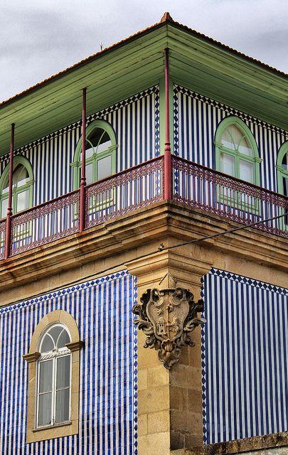 Blue and white striped #facade created with #tile. CABECIERAS DE BASTO, PORTUGAL by toyaguerrero, via Flickr.