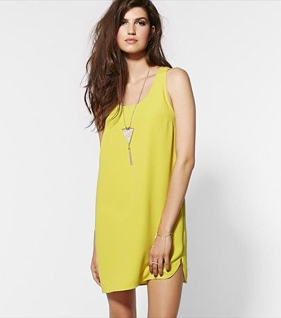 Go with the flow! This electric pear woven dress features a flowy cut and a super lightweight feel.