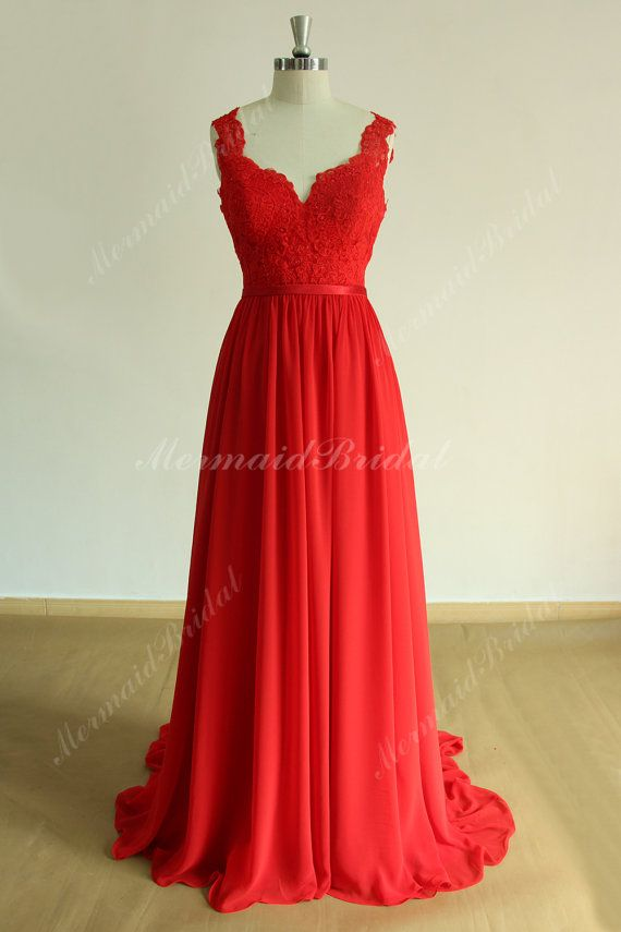 Open back Red Flowy a line chiffon lace wedding dress, prom dress with deep V neckline