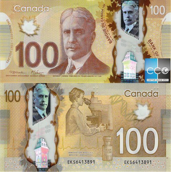 Sur le billet, nous voyons Sir Robert Borden, huitième premier ministre du Canada. Le portrait à reflets métalliques qui se trouve dans la bande transparente a été colorisé pour en faire un élément holographique. Tous les éléments sur ce billet se retrouvent sur le site de la Banque du Canada : http://www.banqueducanada.ca/billets/series-de-billets-de-banque/polymere/graphisme/?_ga=1.205305300.519371255.1483962099