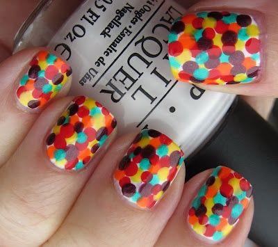 Marias Nail Art and Polish Blog: Hiding in Skittles: Confetti Nails, Nailart, Nails Design, Color, Nails Art Idea, Polka Dots Nails, Art Ideas, Nail Art, Amazing Nails