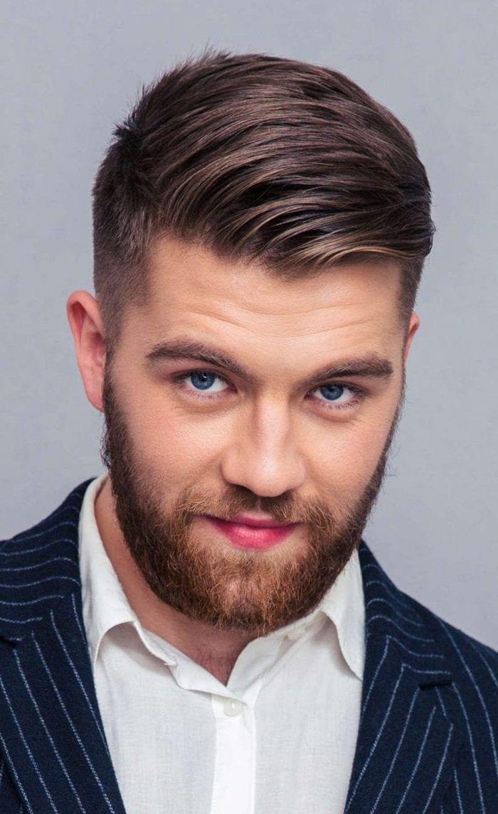 Blue Eyes Medium Length Hairstyles For Men Brown Hair Navy Jacket White Shirt Mens Hairstyles Short Stylish Short Haircuts Mens Haircuts Short