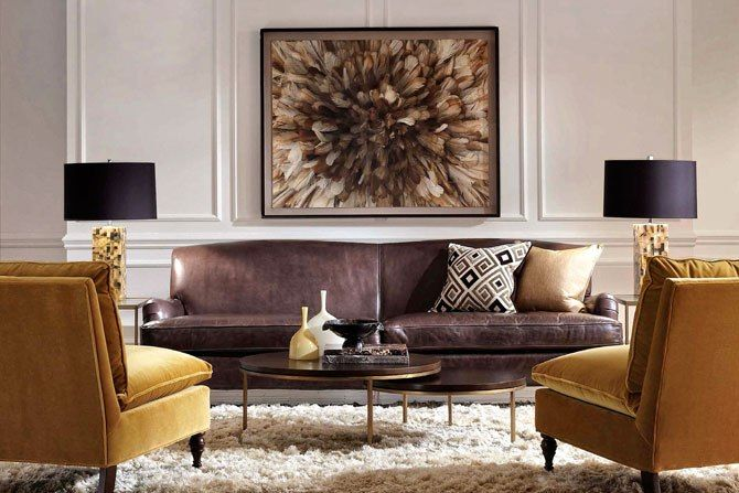 A vignette of Mitchell Gold + Bob Williams designs. Photo courtesy of Mitchell Gold + Bob Williams.  Cool painting.