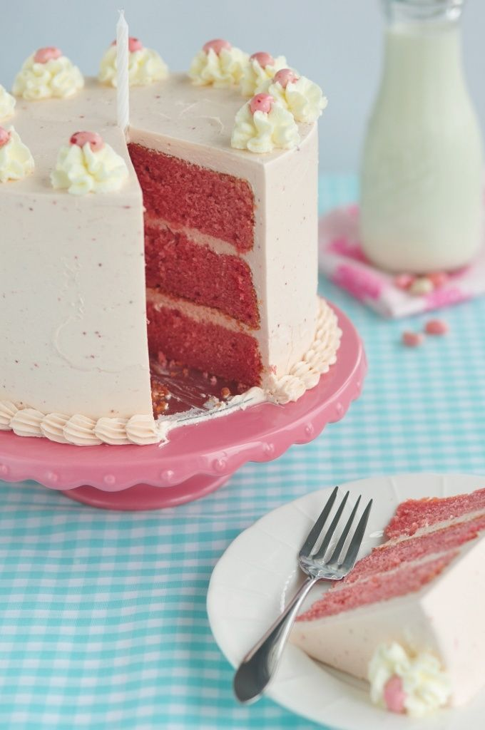 Strawberry Layer Cake with Whipped Strawberry Frosting.