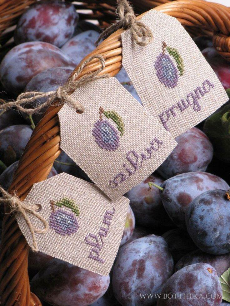 Plum szilva prugna jam tags cross stitch FREE http://bottheka.com/en/plum-brandys