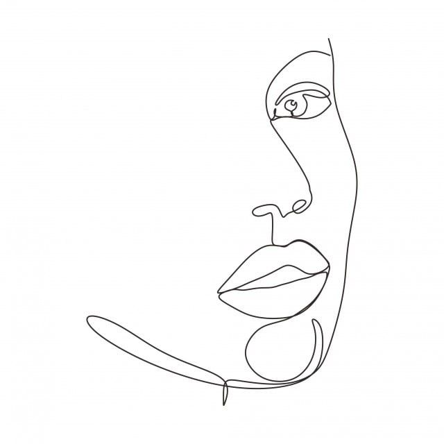 Continuous One Line Drawing Of Abstract Face Minimalism And