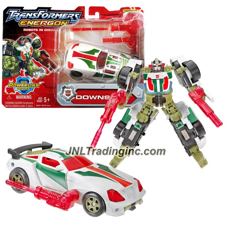 """Hasbro Transformers Energon Powerlinx Combiners Series 6"""" Tall Figure - Autobot DOWNSHIFT with Blaster and Collector Card (Vehicle Mode: Sports Car)"""