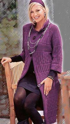 Весеннее вязаное пальто спицами со схемой - Пальто,куртки